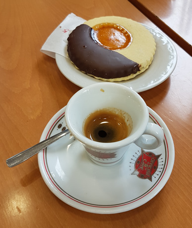 Espresso and a pastry from Rome