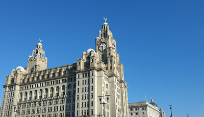 Liverpool's iconic Liver Building in glorious sunshine.