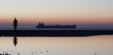 Ship on the Mersey on a still evening